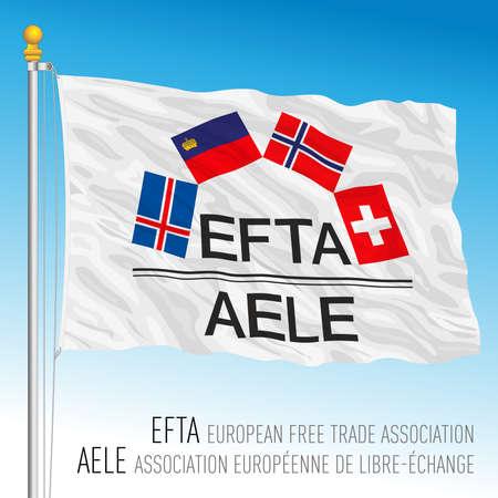EFTA, European Free Trade Association flag, Europe, vector illustration Иллюстрация