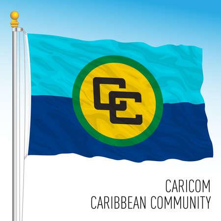 Caricom, Caribbean Community flag, american organization, vector illustration