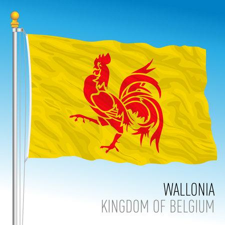 Wallonia regional flag, Kingdom of Belgium, vector illustration