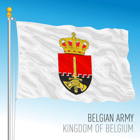 Belgian Army flag, Kingdom of Belgium, vector illustration Иллюстрация
