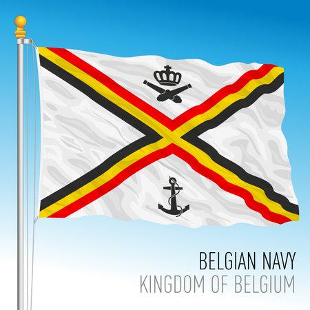 Belgian Navy flag, Kingdom of Belgium, vector illustration