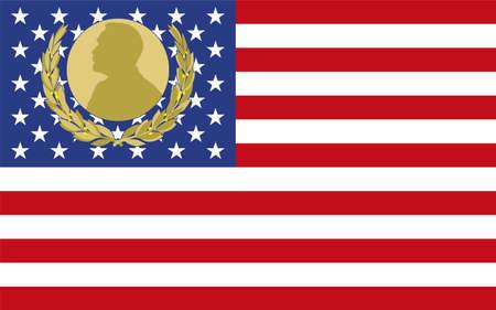 US flag with Nobel prize symbol, vector illustration Иллюстрация