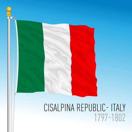 Cisalpina Republic historical flag, Italy, 1797 - 1802, vector illustration