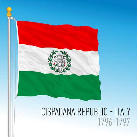Cispadana Republic historical flag, Italy, 1796-1797, vector illustration Иллюстрация