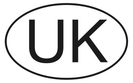 United Kindom new oval international vehicle registration code UK, year 2021, vector illustration