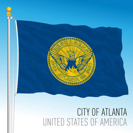 City of Atlanta flag, Georgia, United States, vector illustration Иллюстрация
