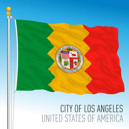 City of Los Angeles flag, California, United States, vector illustration Иллюстрация
