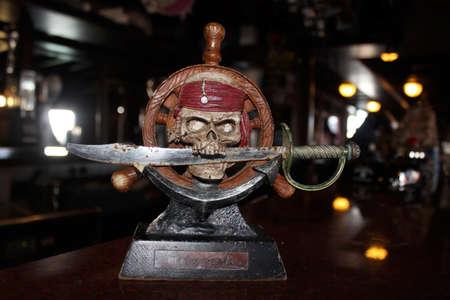 disembark: Pirate statuette in Ayia Napa. Stock Photo