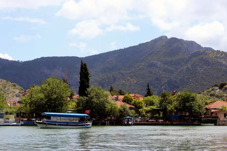 sailer: Boat on the background of mountains Marmaris, Turkey