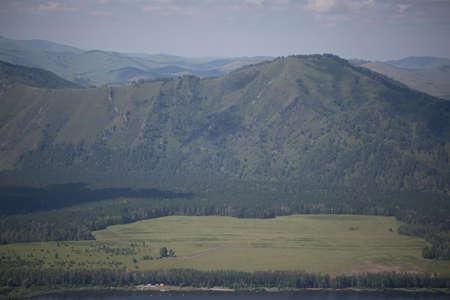 Green hills of Altai Stock Photo