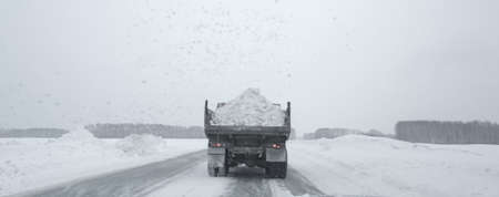 Truck carrying the snow photo for you Stock Photo