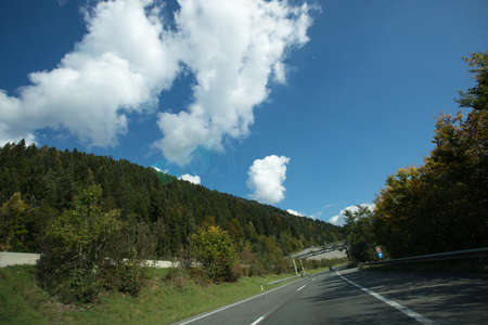 green meadows: Road, green meadows, blue sky photo for you