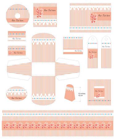 Baby girl gift templates set vectors Vector