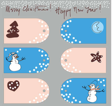 Greeting c set mary christmas with hand drawn snowman and ginger bred and moon Stock Vector - 16228145