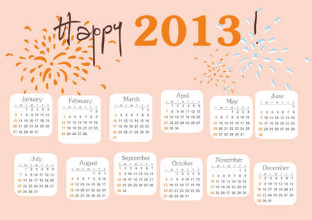 Calendar 2013 with hand drawn salute week starts at sunday Stock Vector - 16228179