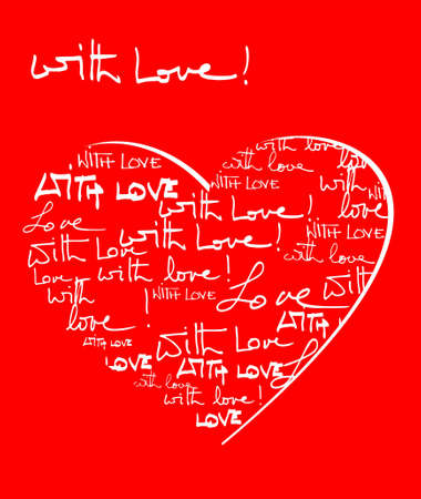 written: Red and white with love background with hand written text and heart