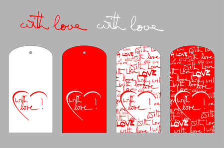 written text: Red and white with love labels with hand written text and heart