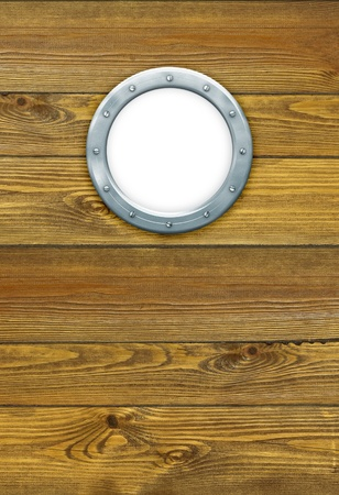 Porthole on the wooden background at pirate ship  Ship porthole as a circle frame, isolated on white  Ship window on the old nautical vessel  photo