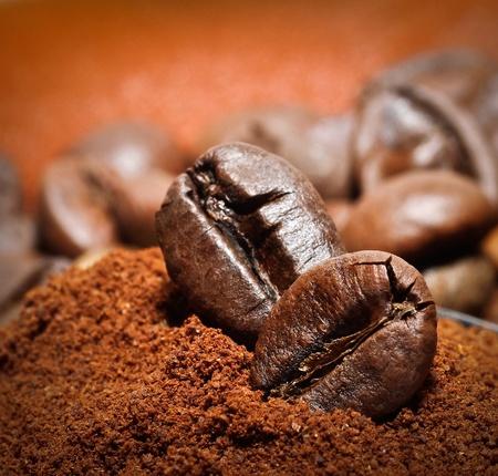 grano de cafe: Granos de café árabe del primer de dos granos de café en el montón de café tostado