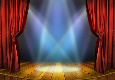 musica clasica: Teatro escenario con cortinas rojas y la escena teatral focos a la luz de los reflectores, el interior del antiguo teatro