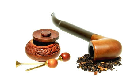 Tobacco pipe, snuffbox and tobacco accessory, isolated on white background.