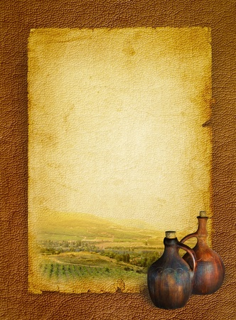 Wine list menu with vineyard and the old pitcher for wine. Vintage background paper on the leather texture and stained in shades of brown. photo