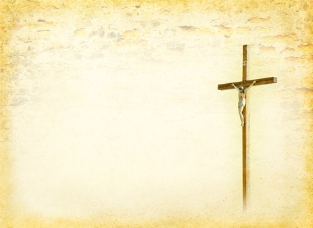 christianity: Crucifixion - Jesus Christ on the cross  Christian god at the old paper background -  ancient postcard in religions style  Biblical books page with Crucifix