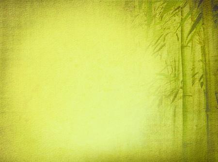 japones bambu: Antiguo papel con textura de fondo con el diseño verde de bambú Asia Meridional para la tradición de la cultura zen Foto de archivo