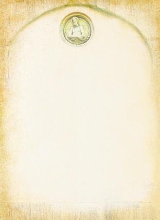sacrificio: De fondo de la vendimia con Jesús y marco para el texto en un diseño de tema religioso en un estilo cristiano con elementos de la talla de la piedra y la cara de un santo Foto de archivo