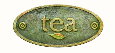 Concept of the tea label packaging  Brass plaque of old Chinese tea  Metal signboard from tea shop for your design  photo