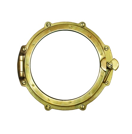 Ship porthole - nautical window frame, isolated on white photo