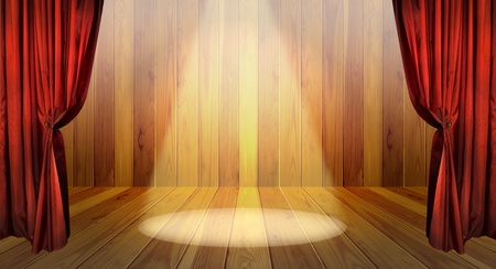 Theater stage with red curtains and spotlights on the stage wooden floor  Stock Photo