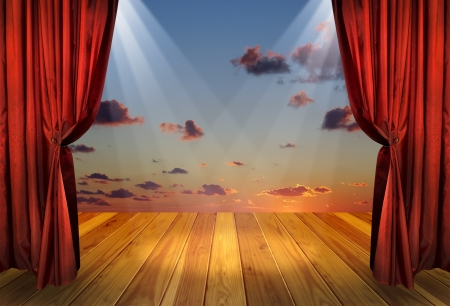 Theater stage with red curtains and spotlights on the stage wooden floor Theatre interior with decorations of the dramatic sky wallpaper