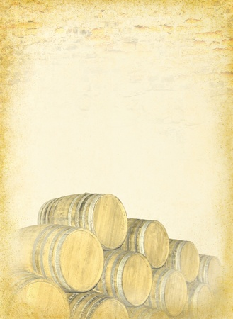 Wine barrels stacked at the old textured paper background