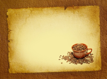 Coffee background with coffee beans and brown cup  Cup of coffee on retro style, vintage poster - spotted textured blank  Wallpaper for decorate coffee or coffee shop  photo