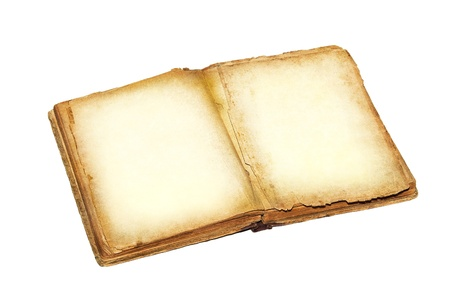 Open book and empty pages  Ancient blank pages of the history book, isolated on white background  Antique book with empty paper background