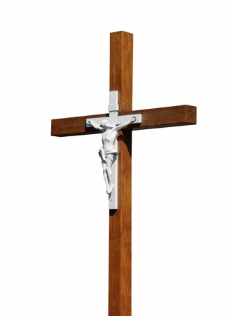 christendom: Crucifixion - Jesus Christ on the cross. Crucifix - Biblical symbol of Christian god. Stock Photo
