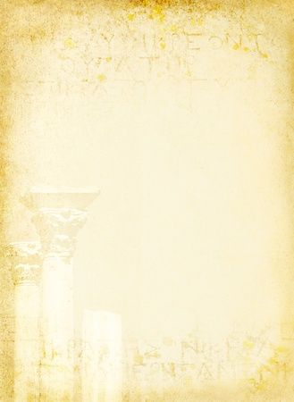 Ancient background with old Greece text and marble columns  Antique classic art - tradition of European culture