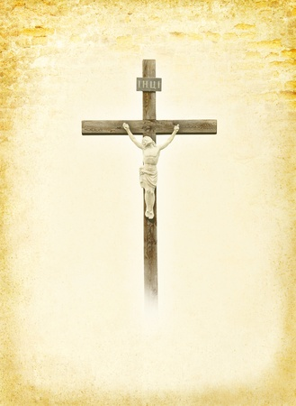 christendom: Crucifixion - Jesus Christ on the cross  Christian god at the old paper background -  ancient postcard in religions style  Biblical books page with Crucifix
