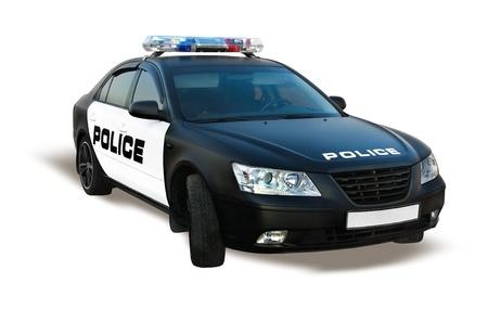 patrol cop: Coche de la polic�a aislado en blanco, la patrulla de autom�viles de polic�a Foto de archivo