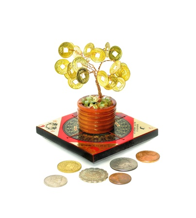 Chinese Money Tree--Symbol of wealth growth  Symbols of wealth and prosperity of Feng Shui - Money Tree, Feng Shui compass and coins of different countries  Stock Photo