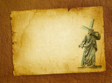 Biblical scene - Passion of the Christ on Good Friday, Jesus Christ carrying his cross on Calvary  Statue of Christ on the old parchment background