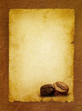 Coffee grunge background with coffee beans Vintage coffee-shop menu - spotted textured blank  photo