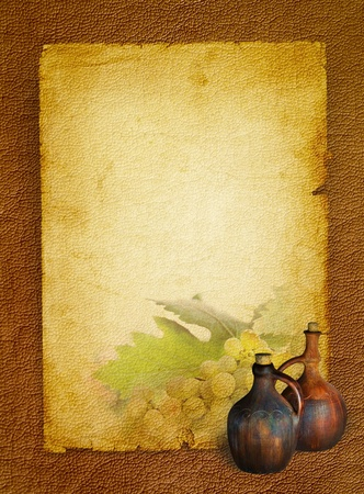 Wine list menu with grapes and old jugs for home wine   Wine still life with twin old pitchers on textured background  photo