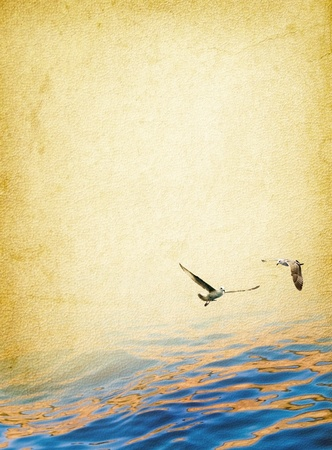 Romantic seascape - surface of sea and two seagulls above the water  Nautical vintage background - marine travel in retro style