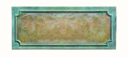 plaque: Metal plate with frame and grunge texture for your text  Blank antique weathered plaque with cracks and scratches on the metal surface, isolated on white background