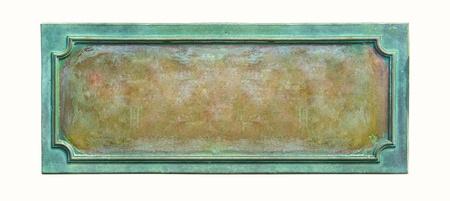 cobre: Placa met�lica con estructura y textura del grunge para su antiguo texto en blanco resistido la placa con las grietas y ara�azos en la superficie de metal, aisladas sobre fondo blanco