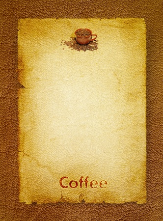 Coffee grunge background with coffee beans and brown cup  photo