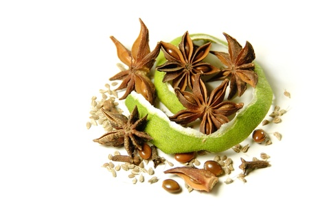 fennel seeds: Seeds of anise, lime, cloves and fennel isolated on a white background Stock Photo