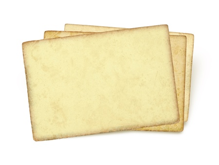 Index cards  Image of an old, grungy note-card isolated on a white background  Three blank piece of paper  photo